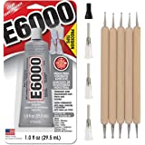 E6000 1-Ounce Tube with Precision Tips Industrial Strength Adhesive for Crafting and Pixiss Wooden Art Dotting Stylus Pens 5 pcs Set - Rhinestone Applicator Kit