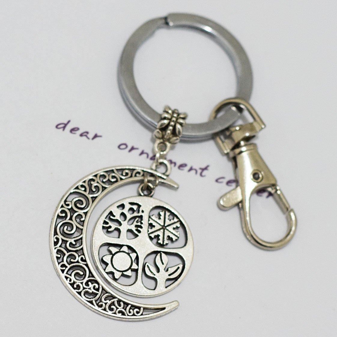 Crescent Moon Four Seasons Keychain, Sabbat Keychain, Wiccan Keychain, Witches Keychain, Pagan Jewellery, Ritual Jewellery, Yule Gift Idea, Pagan Gifts Keychain ping