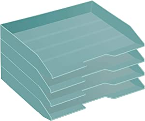 Acrimet Stackable Letter Tray 4 Tier Side Load Plastic Desktop File Organizer (Solid Green Color)