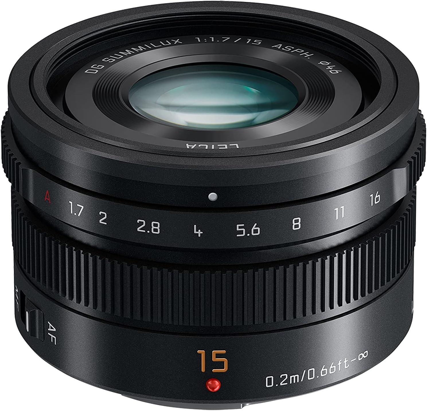 Panasonic Leica DG Summilux H-X015 - Objetivo Focal Fija para Cámaras de Montura M4/3 (Focal 15 mm, F1.7, Tamaño Filtro 46 mm, Lentes Asféricas), Negro