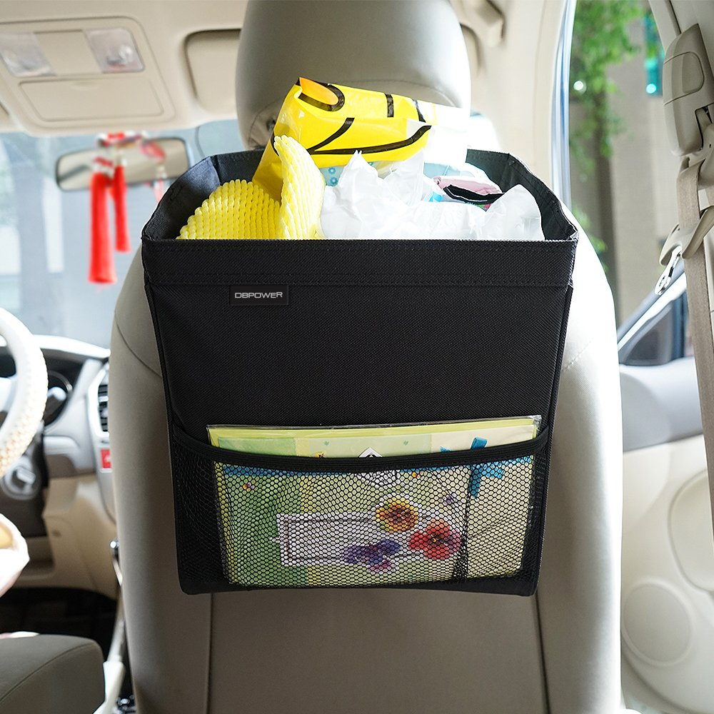 DBPOWER Waterproof Portable Car Trash Can with Side Pockets, Leakproof Drive Garbage Bin With Inner Heat Preservation Bag
