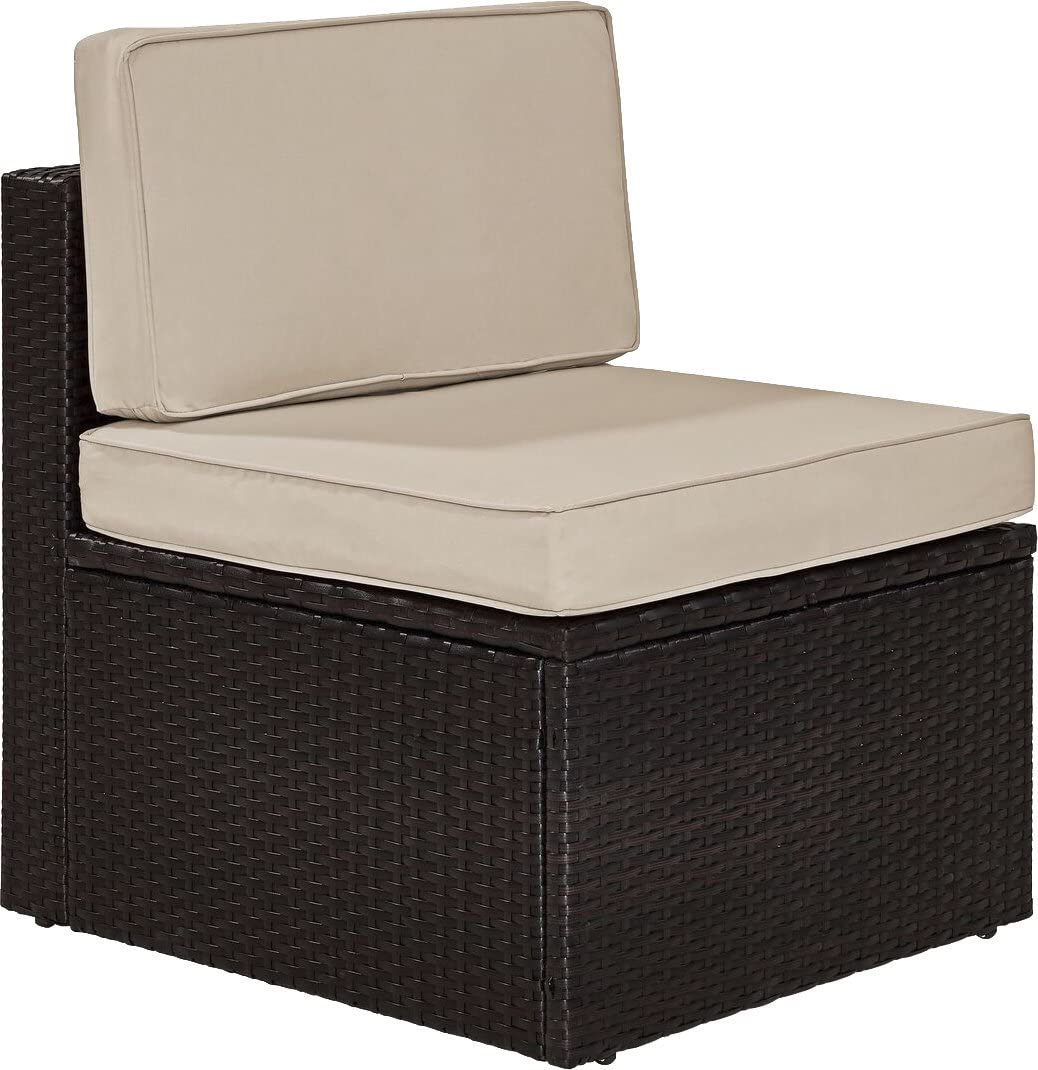 Crosley Furniture KO70090BR-SA Palm Harbor Outdoor Wicker Center Chair, Brown with Sand Cushions