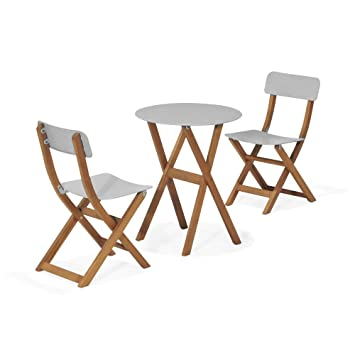 Urban out Ensemble 2 chaises et 1 table de jardin gris Gris - Alinea ...
