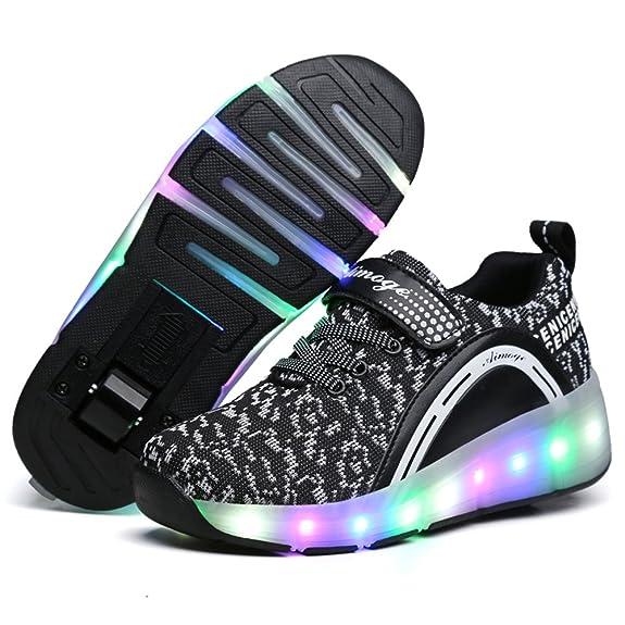 ❤❤❤ Unisex Led Luz Automática de Skate Zapatillas con Ruedas Zapatos Patines Deportes Zapatos para Niños Niñas ❤❤❤: Amazon.es: Zapatos y complementos