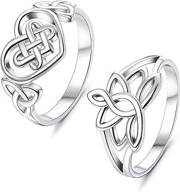 Amazon.com: Sllaiss - 2 anillos de plata de ley 925 para ...