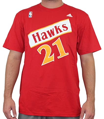 Amazon.com   adidas Atlanta Hawks Dominique Wilkins Throwback Red T ... 16094ca2d