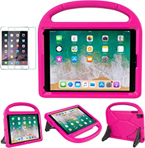 MOXOTEK Kids Case for iPad 9.7 2018/2017 / Air 1/2 / Pro 9.7, Durable Shockproof Protective Handle Stand Bumper Cover with Screen Protector for Apple 9.7 inch 5th/6th Generation, Pink