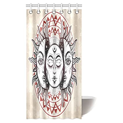 INTERESTPRINT Beautiful Sun And Moon Shower Curtain Vintage Magic Spiritual Celestial Theme With Crescent