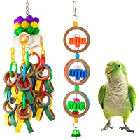 MEWTOGO 2Pcs Paper Rings Bird Chewing Toys- Olympic Rings Bird Toy + Colorful Bagel Cascade Parrot Toy Bird Biting…