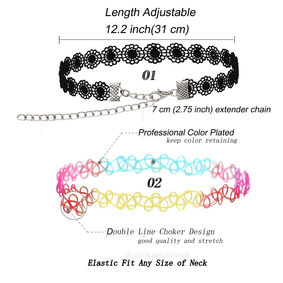 56 PCS Choker Necklace, K&Q Classic Stretch Colorful Gothic Collar Tattoo Choker Necklace and Black Cute Lace Velvet Choker Necklace Set for Girls and Women by K&Q (Image #2)