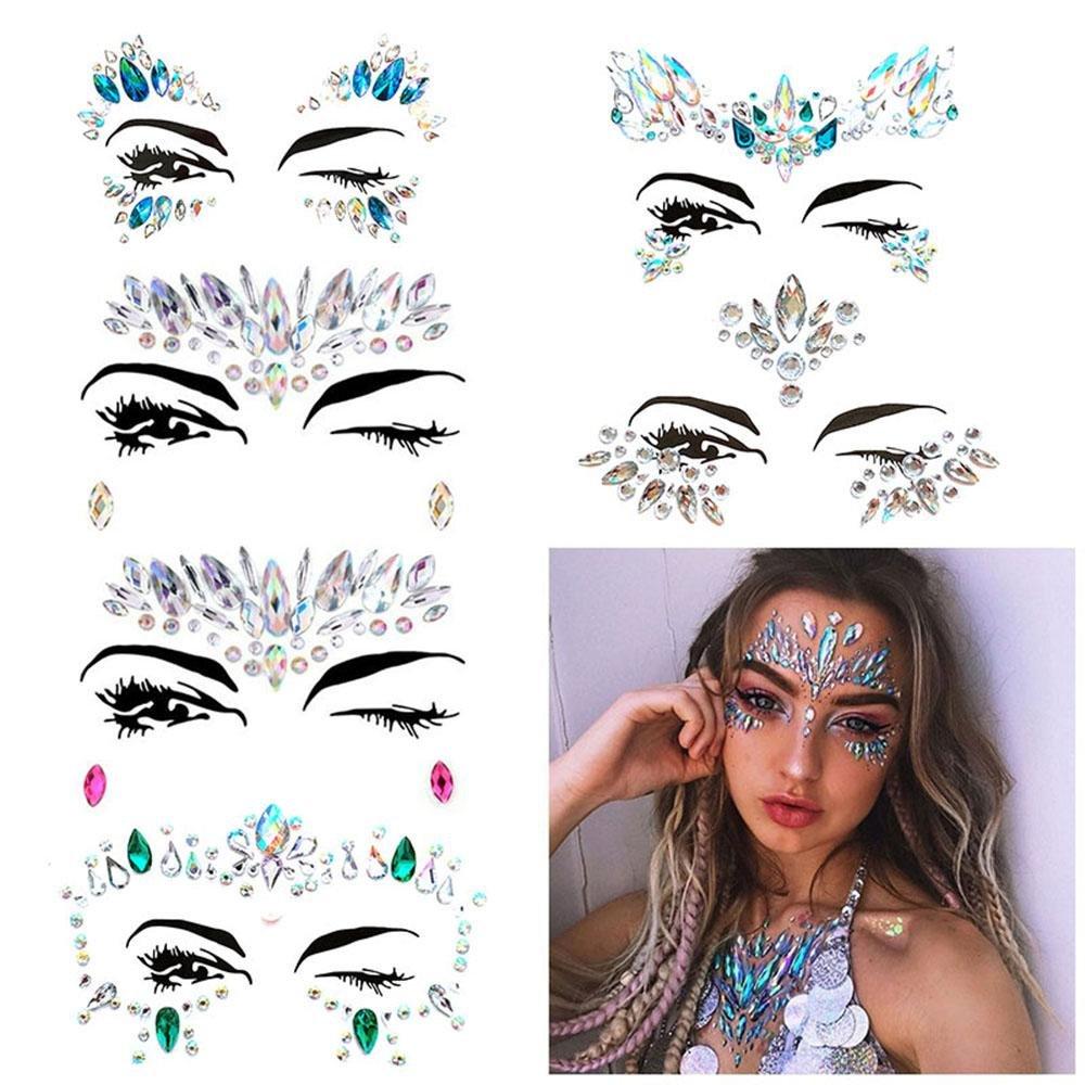 KOBWAPegatinas para cara de Face con diamantes 6 juegos de diamantes de imitación de sirena, Gem Pegatinas cara y cuerpo joyas de piedras preciosas Pegatinas Glitter Make Up para Fiesta Festival shows
