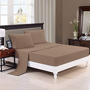 Trance Home Linen 100% Premium Cotton 300TC Plain Queen Fitted Bed Sheet with 2 Pillow Covers (Brown Grey)