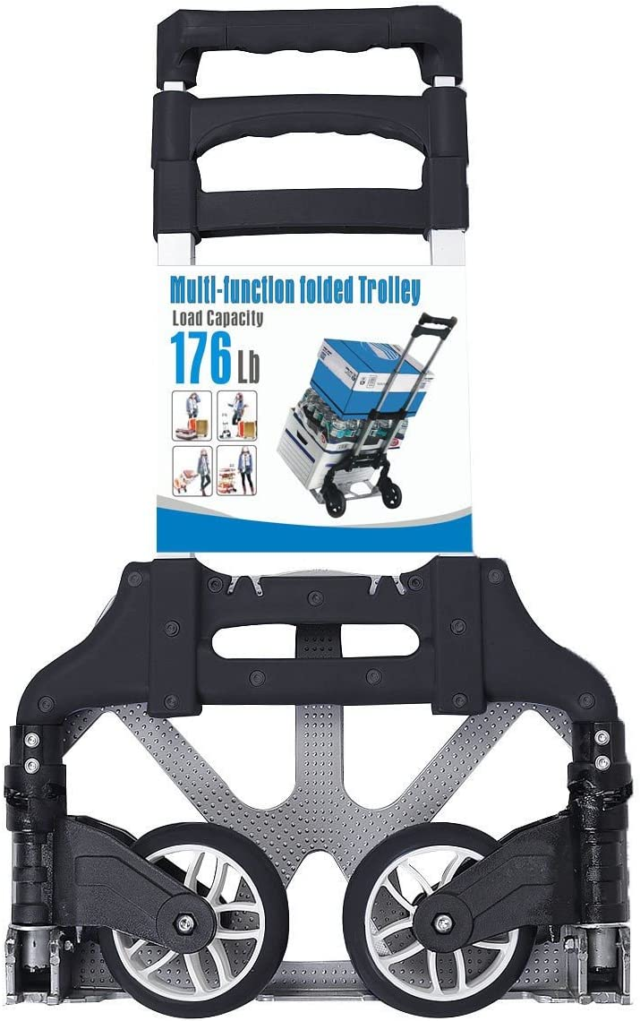 170 lbs Cart Folding Dolly Push Truck Hand Collapsible Trolley Luggage Aluminium by Choice Products