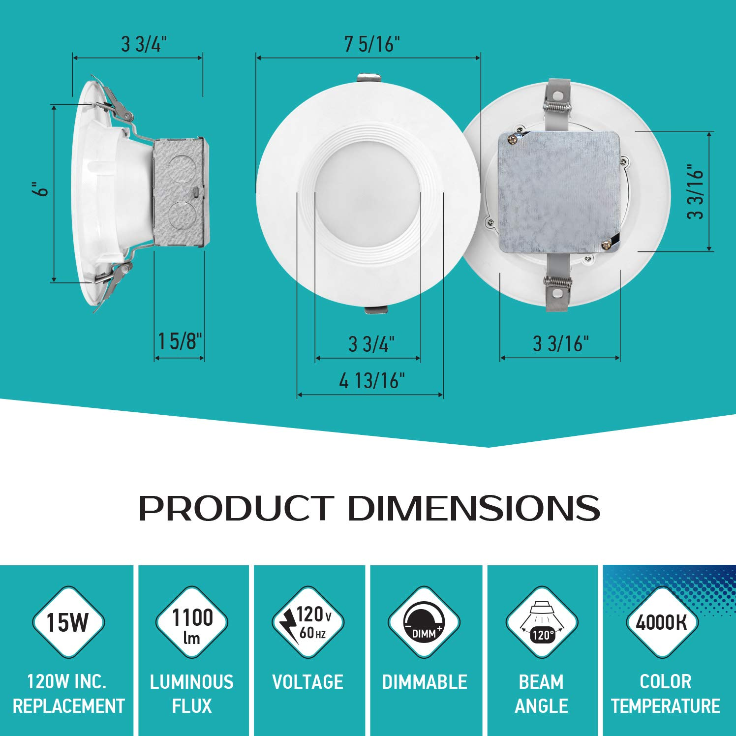 LUXTER (12 Pack) 6 inch LED Ceiling Recessed Downlight With Junction Box, LED Canless Downlight, Baffle Trim, Dimmable, IC Rated, 15W(120Watt Repl) 4000K 1100Lm Wet Location ETL and Energy Star Listed by Luxter (Image #4)