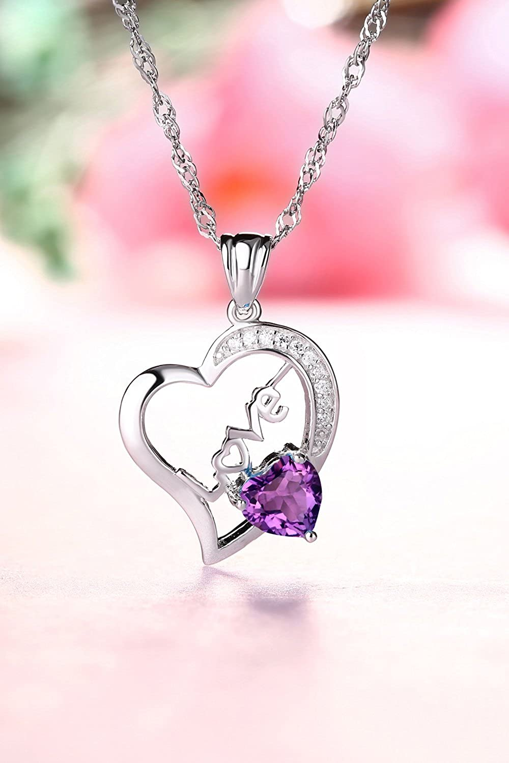 Fine Jewelry for Women Sterling Sliver and Rose Gold Plated Pendant Necklace Bracelet and Ring