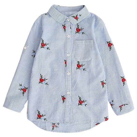 HCFKJ NiñOs NiñAs Bebé Camisas OtoñO Blusa Tops Flores Bordado Trajes De Rayas (100,