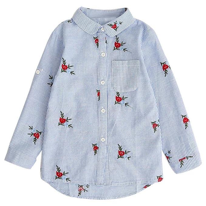 HCFKJ NiñOs NiñAs Bebé Camisas OtoñO Blusa Tops Flores Bordado Trajes De Rayas: Amazon.es: Ropa y accesorios