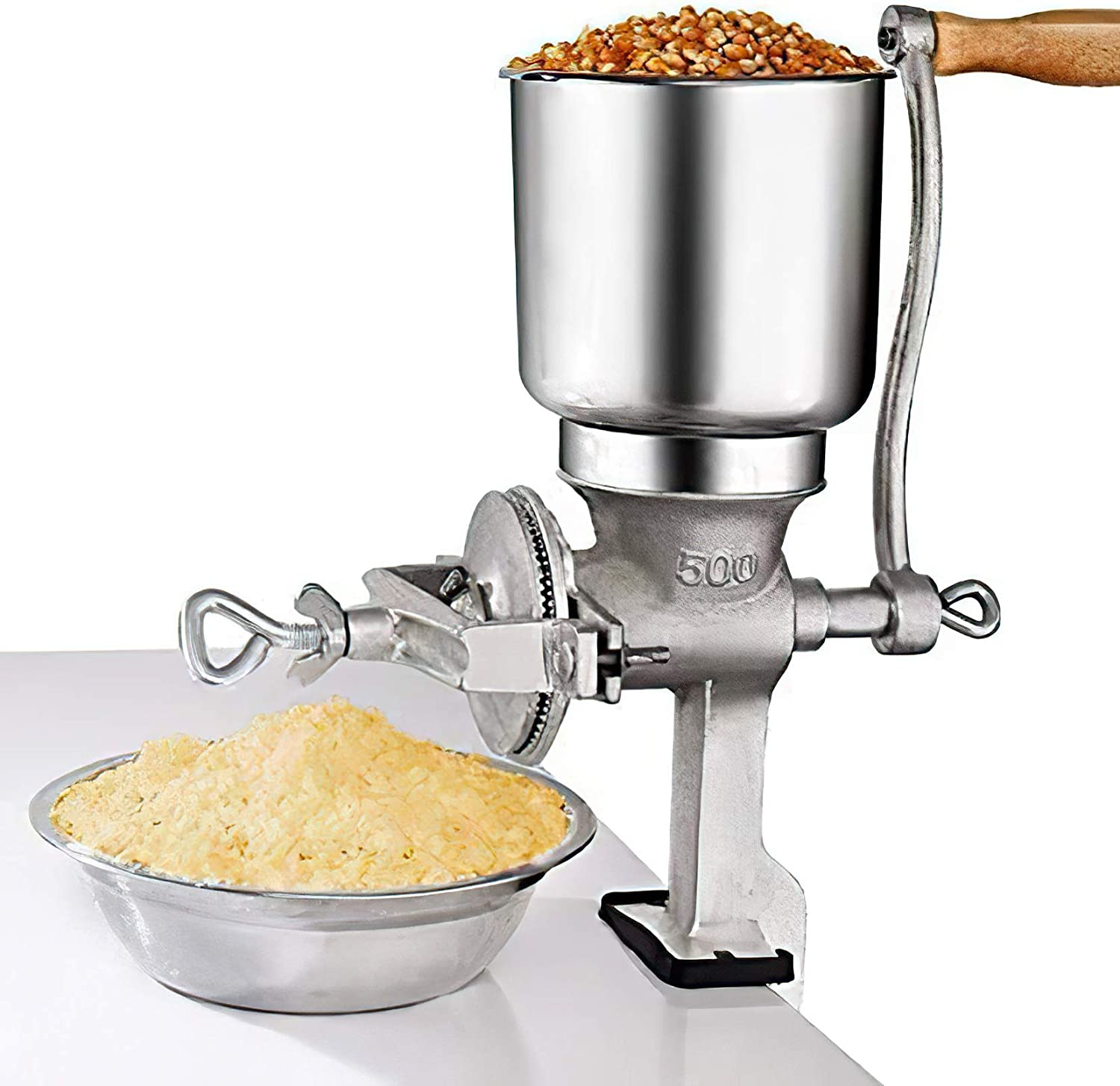 Hand Cranking Operation Grain Grinder Home Use Great for All Kinds of Grain Silver