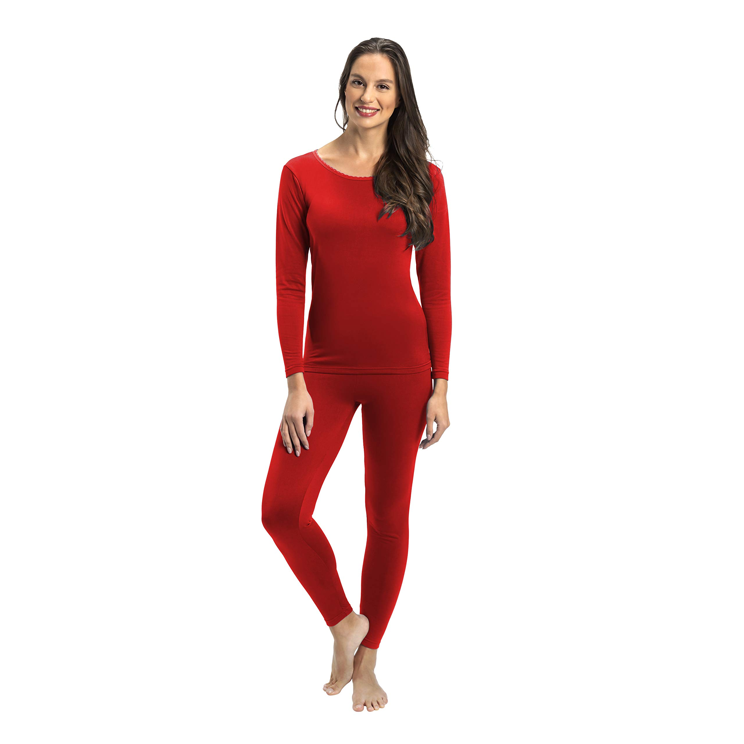Rocky Womens Thermal 2 Pc Long John Underwear Set Top and Bottom Smooth Knit (Large, Red) by Rocky