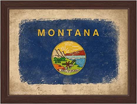 Amazon Com Distressed State Flag Of Montana Framed Canvas Art Print Wall Décor 16x24 Posters Prints