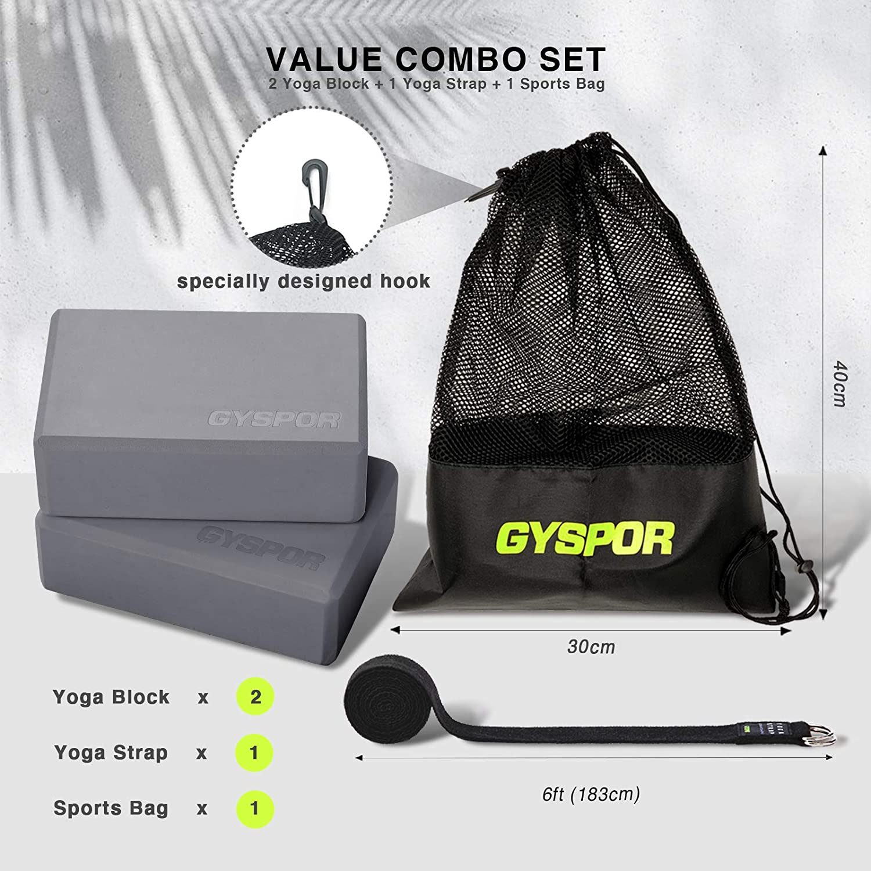 GYSPOR Yoga Blocks 2 Pack Set 9x6x3 with Yoga Strap and Sports Bag Gray Exercise Non-Slip Surface High Density EVA Foam Yoga Block for Pilates Meditation