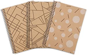 Mintra Office Composition Sustainable Eco-friendly Notebooks -100% Recycled Notebooks, 80 Sheets, Bagasse College Ruled Paper, (Design Brown Cover, Junior 6.5in x 9.5in) 3 Pack