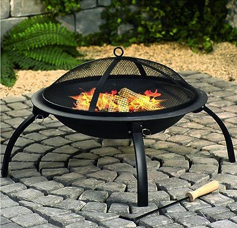 Fire Pit negro barbacoa grabadora de leña calefactor Aire libre chimenea de jardín diseño cilíndrico actividades