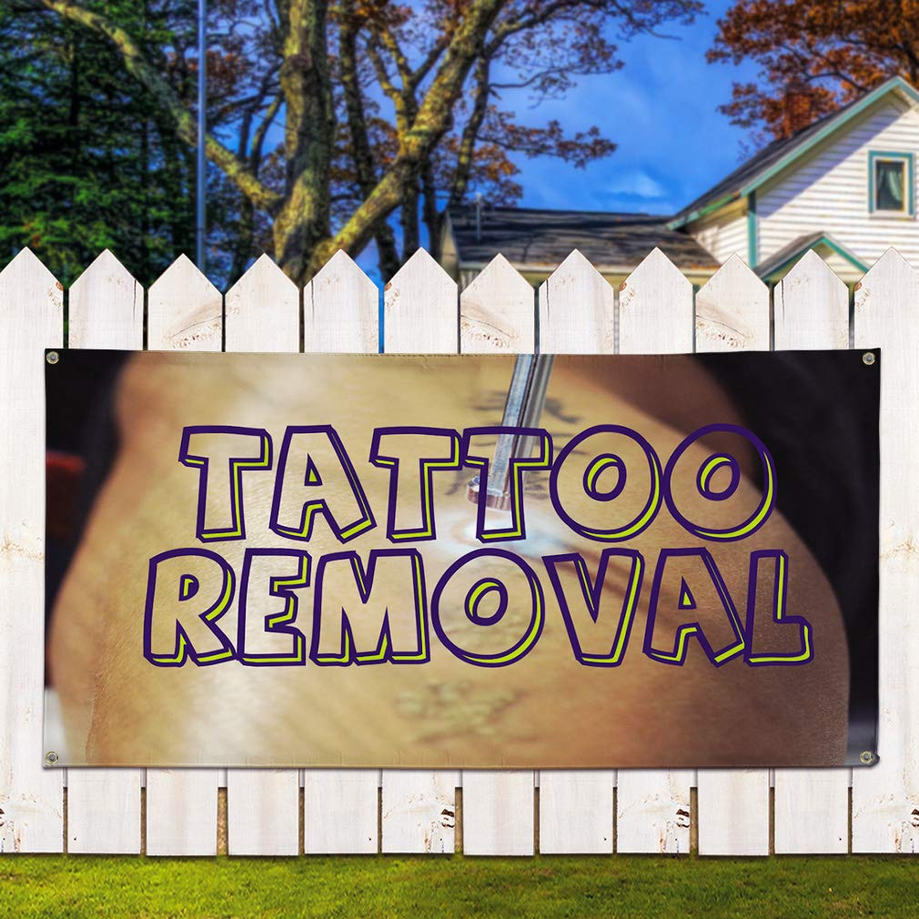 Multiple Sizes Available 4 Grommets Set of 3 Vinyl Banner Sign Tattoo Removal #1 Business Tattoo Removal Marketing Advertising Brown 24inx60in