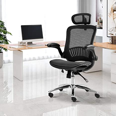 Amazon Com Merax Ergonomic Mesh Office Chair Computer Chair Home Executive Desk Chair Comfortable Reclining Swivel Chair High Back With Wheels And Adjustable Headrest For Teens Adults Kitchen Dining