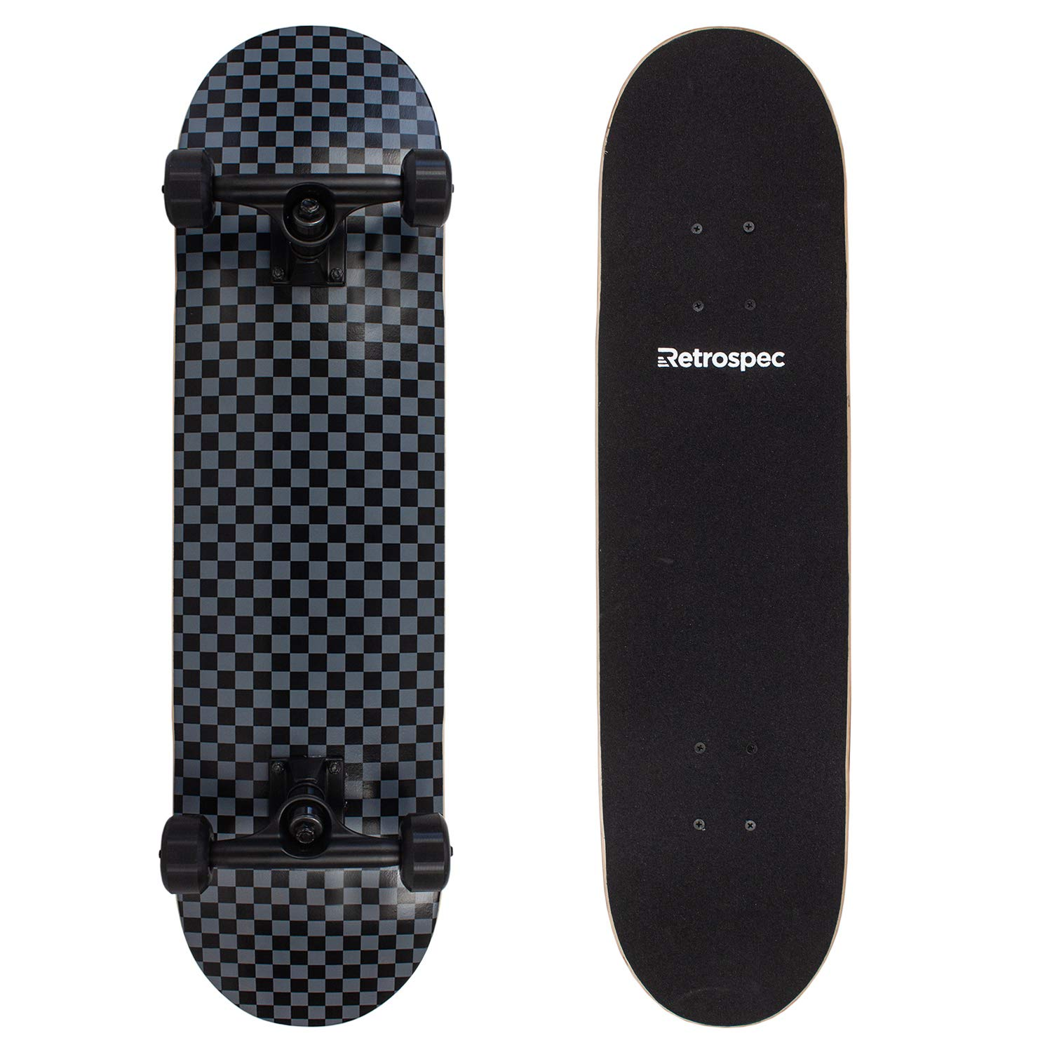Retrospec Alameda Skateboard Complete with Abec-11 & Canadian Maple Deck, Black/Gray Checker