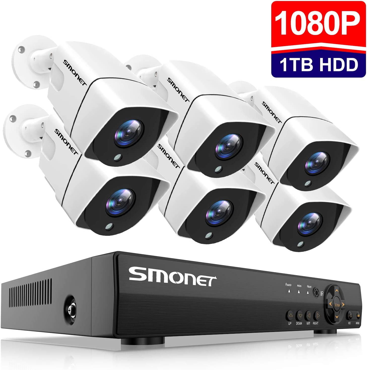 2019 New 1080P Security Camera System,SMONET 8-Channel Outdoor Indoor Surveillance System 1TB Hard Drive ,6pcs 1080P 2.0MP Security Cameras,65ft Night Vision,P2P, Free APP,Easy Remote View