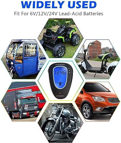 6V//12V//24V Digitale Batterietester Voltmeter Auto Digitalbatterie und Systemlast Tester LED Anzeige Handheld Haushaltsanalysator Universal Ladesystem Analyzer mit LCD-Display