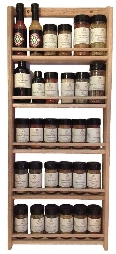 Amazoncom Solid Oak Wood Spice Rack 3275h X 1375 W Wall