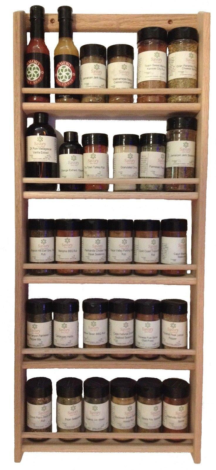 Solid OAK Wood Spice Rack / 32.75''H x 13.75 ''W / Wall Mount Wooden Spice Rack