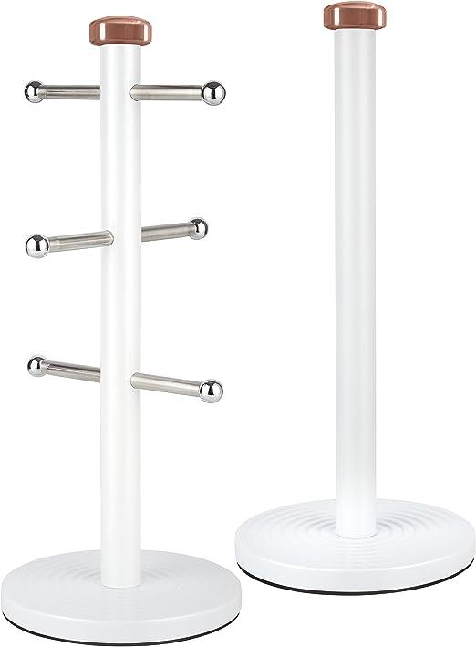 6 Cup Mug Tree /& Kitchen Roll Holder set of 2 Paper//mug and kitchen towel holder
