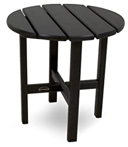 """POLYWOOD RST18BL Round 18"""" Side Table, Black"""