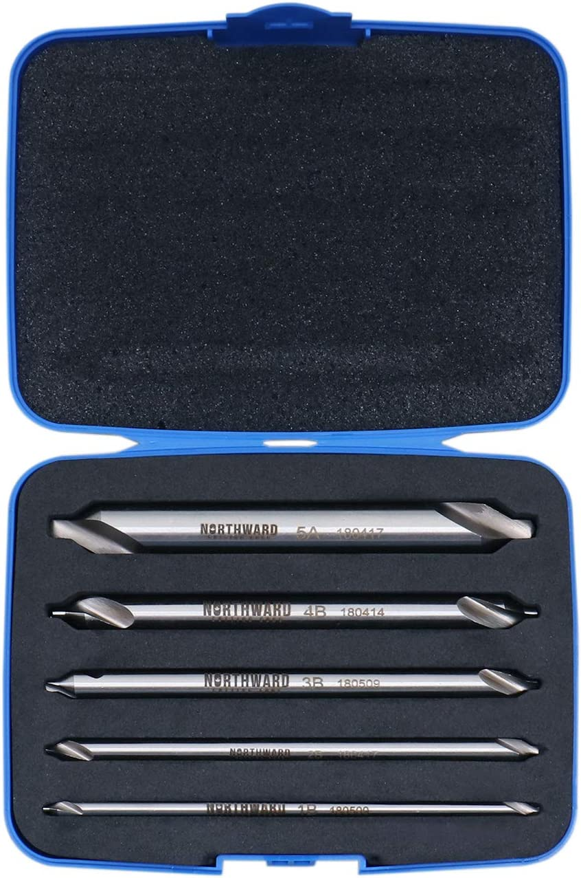 3560-1001 M2 Long Series Center Drill Set 4 Oal All Length of Each Drill Accusize Industrial Tools 5 pc H.S.S