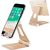 """Phone Holder Desk, YOSHINE Adjustable Cell Phone Stand Foldable Mobile Phone Stand Desktop Tablet Stand Cradle Dock for Switch, iPhone 11 XR Xs Max X 8 7 6 6s Plus 5 5s 5c, All Android Smartphones and Tablets (4-13"""") - Gold"""