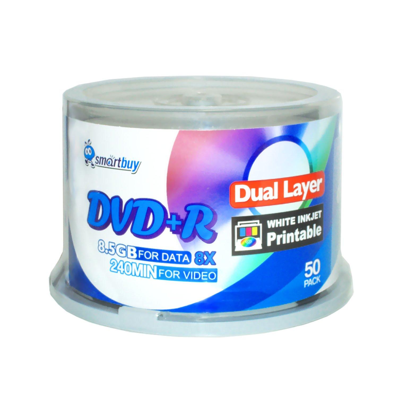 Smartbuy 100-disc 8.5GB/240min 8x DVD+R DL White Inkjet Hub Printable Blank Media Disc + Black Permanent Marker by Smartbuy