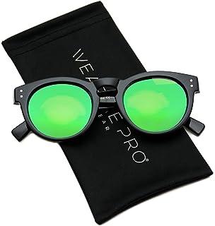 64bcb4492 Vintage Inspired Mirror Lens Round Horned Rim Frame Retro Sunglasses