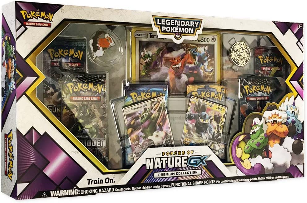 Pokemon TCG: Forces of Nature GX Premium Collection | Collectible Trading Card Set | Features 2 Ultra Rare Foil Promos of Tornadus-GX and Thundurus-GX, 6 Booster Packs, Collectors Pin, Coin & More