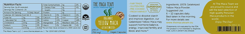Maca Amarilla Gelatinizada BIO en cápsulas, 750 Mg, 200 Cápsulas, recién cosechada de Perú, comercio Justo, sin OGM, sin Gluten y Vegana.