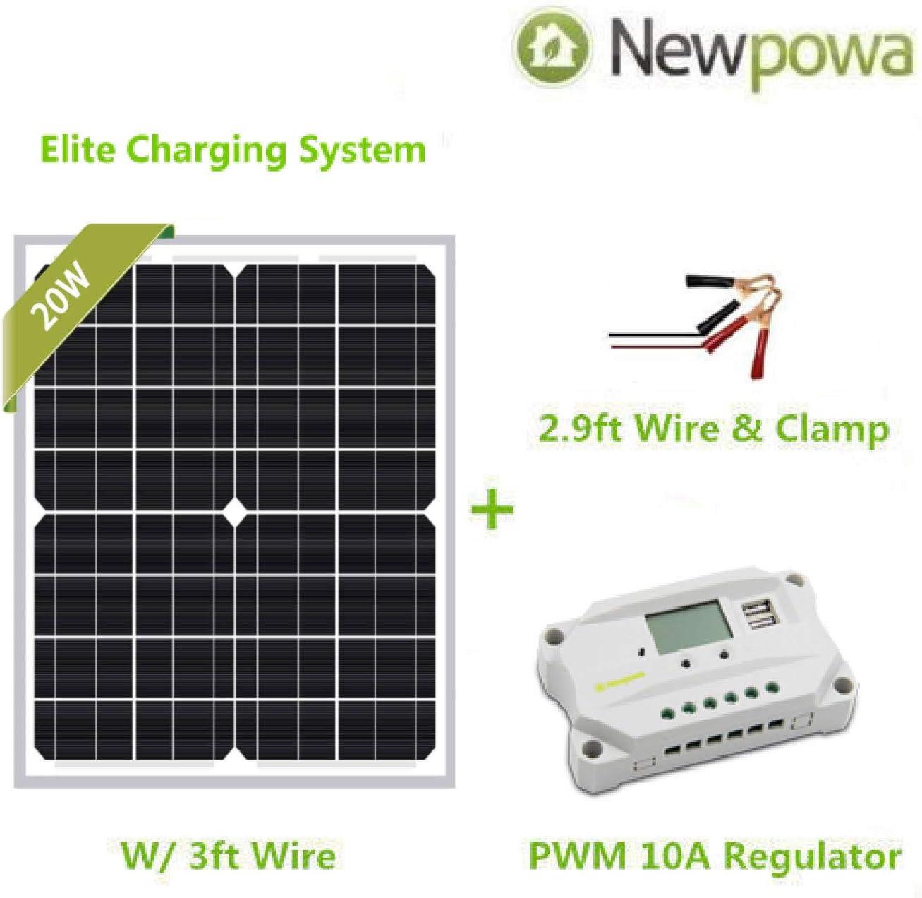 Newpowa 20w Watt 12v Solar Panel PWM 10a 12v Smart Charging Controller Regulator