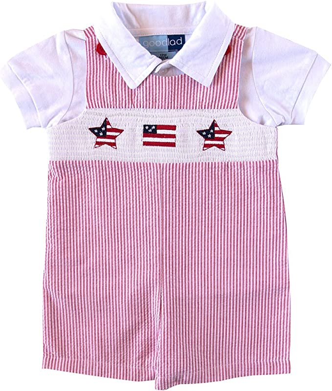 Good Lad Newborn//Infant Boys Smocked Shortall Set with Crab Embroideries