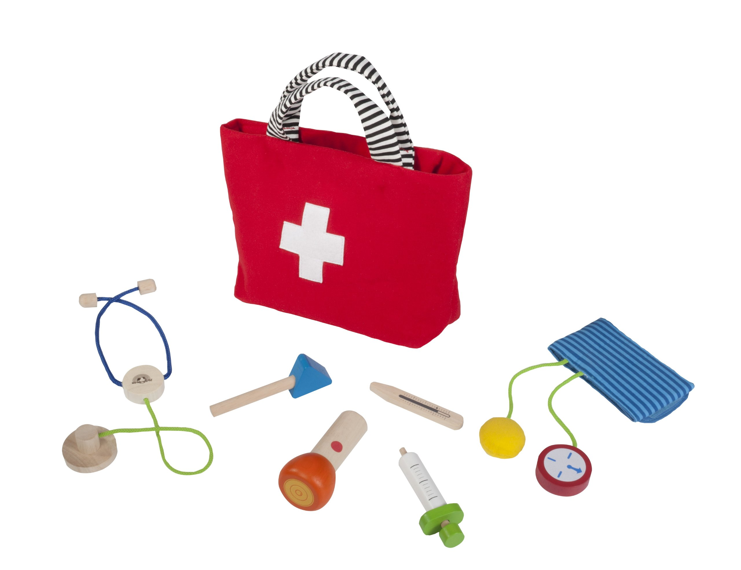 Wonderworld Handy Doctor Seven-Piece Wood Pretend Play Medical Checkup Kit Toy Set By Wonderworld