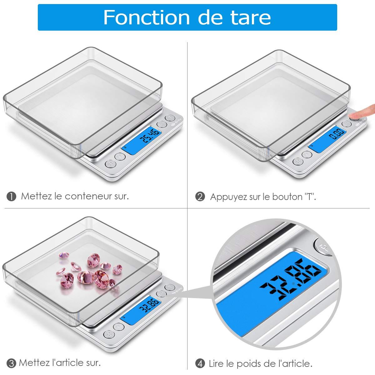 Amir fr-ka8 pantalla LCD retroiluminada joyería Escala de Precisión de Bolsillo báscula, 500 g/0.01g, función + función de tara, 2 paletas (acero ...