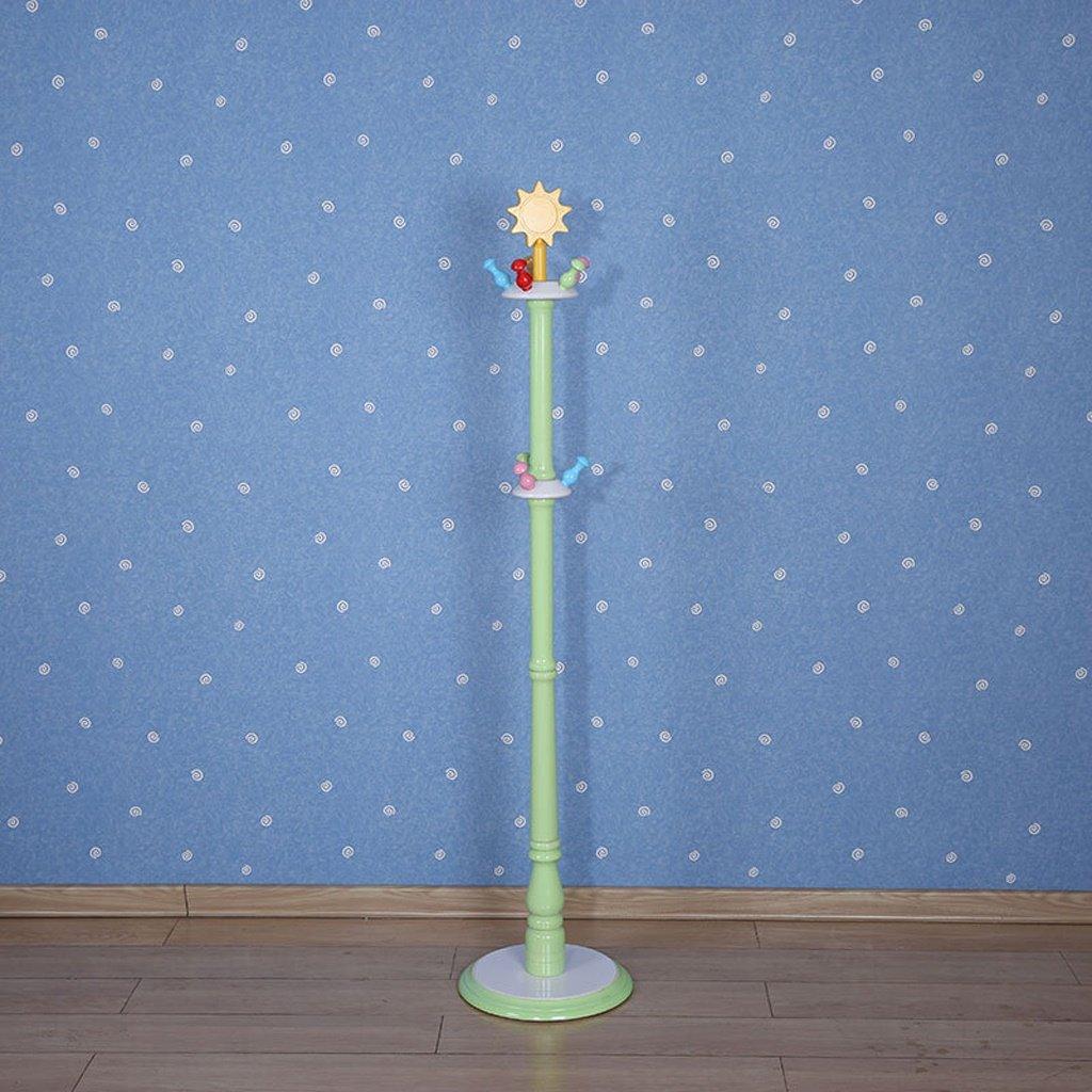 COAT RACK Modern Minimalist Solid Wood Floor Hangers Children's Hangers Home Hook Hat Rack Blue, Green, Pink (34 34 150CM)