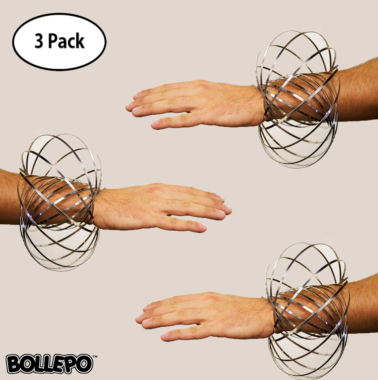 BOLLEPO Flow Ring Kinetic 3D Spring Toy Sculpture Ring Game Toy for Kids Boys and Girl (2 Pack)