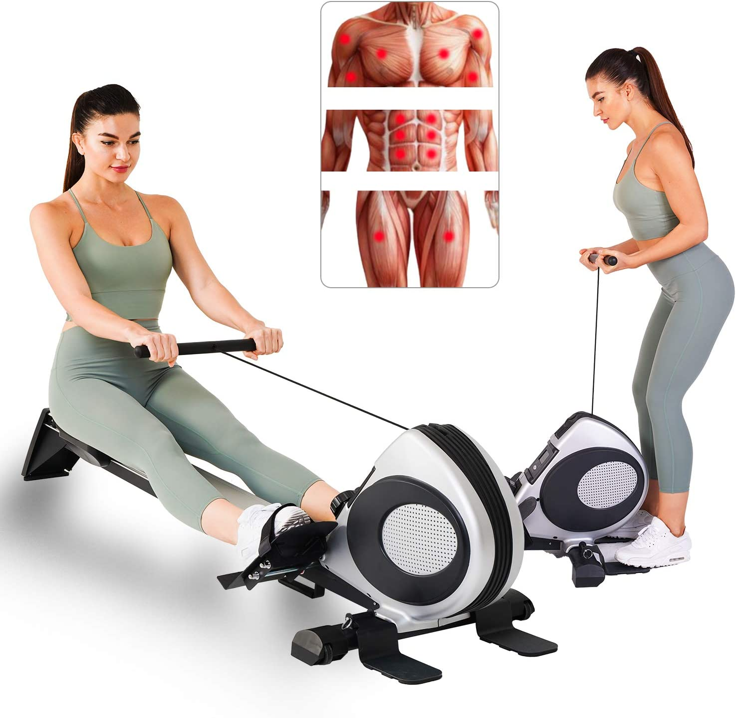 Magnetic Rowing Machine Foldable Rowing Machines for Home Use Full Body Workout Machine Quiet Adjustable Resistance Exercise Equipment w/LCD Monitor, R60