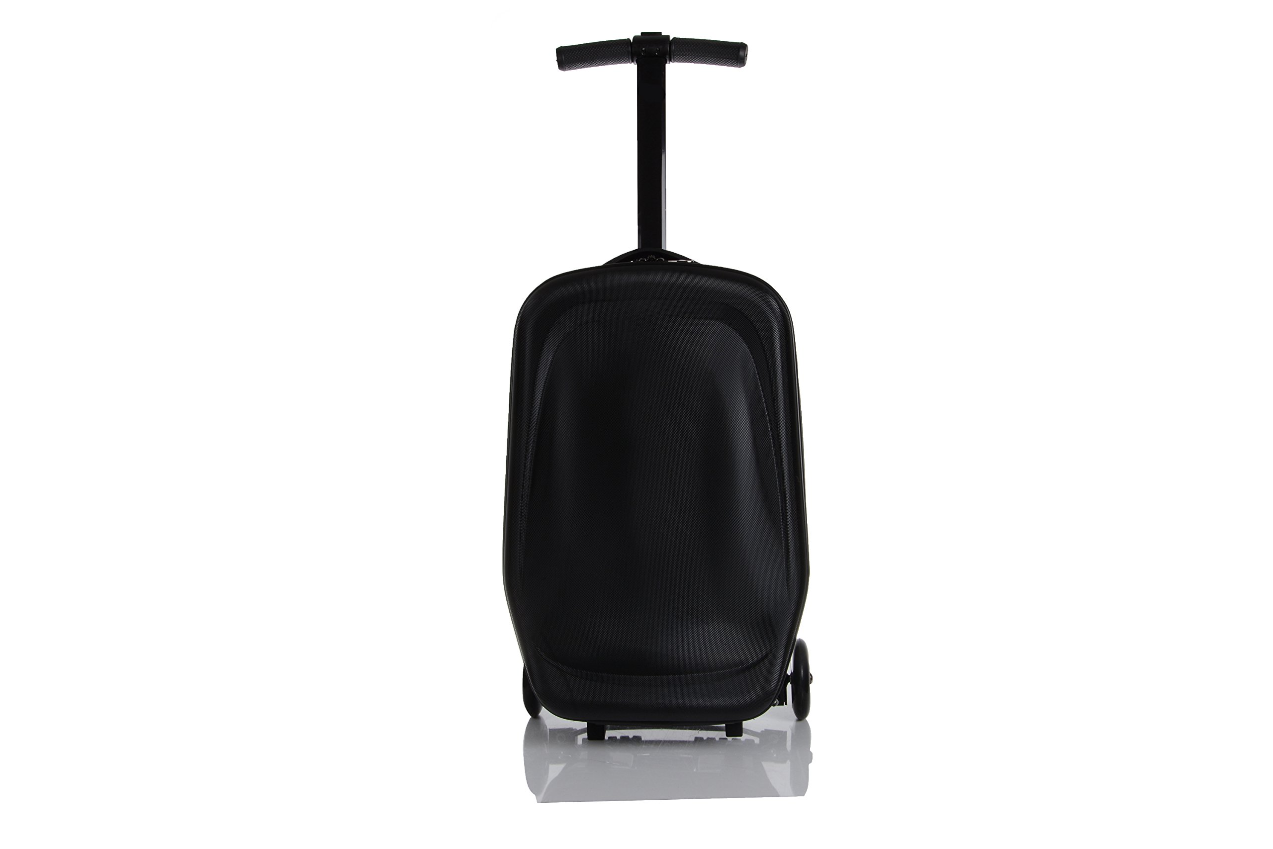 20 Inch Unisex Multi-Functional Scooter Travel Upright Suitcase Luggage with 3 Hot Wheels for Girls Boys and students Foldable Trolley Convertible Travel School Bag (Black)